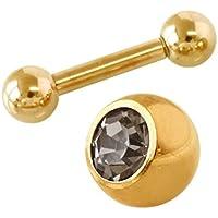 カラー ストレートバーベル (18Kゴールド) ジュエル 2点セット (1個売) 18G 内径8mm ブラックダイヤモンド 4mm