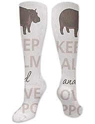靴下,ストッキング,野生のジョーカー,実際,秋の本質,冬必須,サマーウェア&RBXAA Keep Calm and Love Hippos Socks Women's Winter Cotton Long Tube Socks...