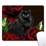 (精密継ぎ目)パーソナライズされた黒い猫レッドローゼスのオフィスのデスクトップまたはゲームの人間工学的な媒体大きな布表面天然ゴムの長方形マウスパッド