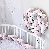 ベッドレール 結び目 編組 ぬいぐるみ 赤ちゃん ベッドガード 装飾 新生児 ゆりかご 枕 クッション ジュニア ベッド 睡眠 バンパー-G L:200cm(78inch)