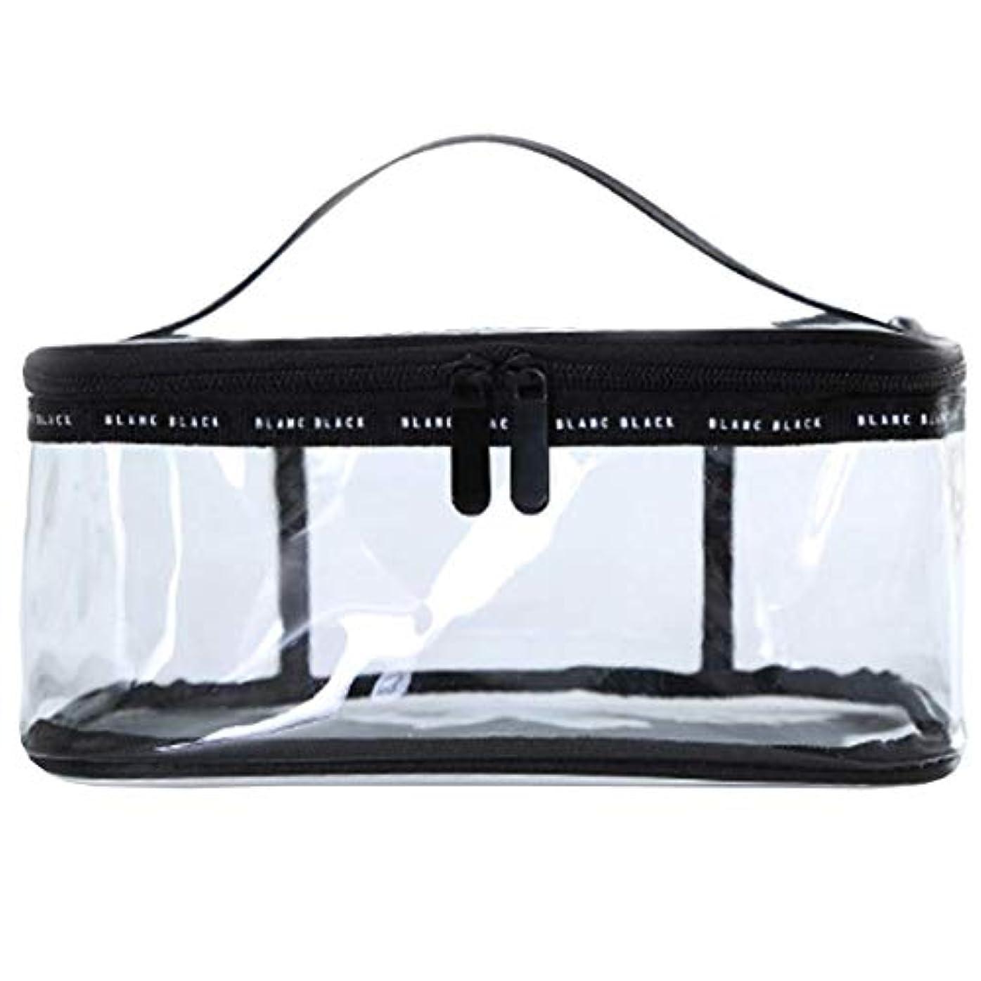 服を洗うリスト写真撮影Rownyeメイクポーチ 大容量 クリアポーチ ブラシ入れ付き 透明ポーチ 黒 透明 旅行 出張 仕切りTPUポーチ 防水的