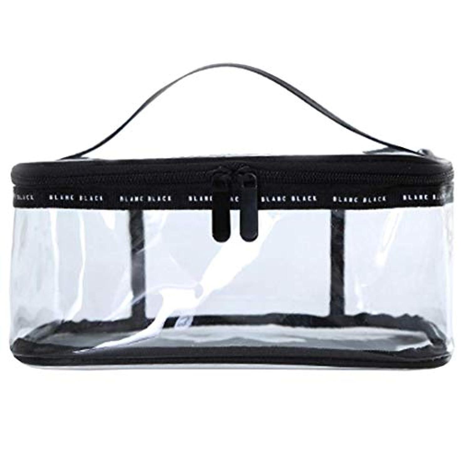 施し別の満州Rownyeメイクポーチ 大容量 クリアポーチ ブラシ入れ付き 透明ポーチ 黒 透明 旅行 出張 仕切りTPUポーチ 防水的