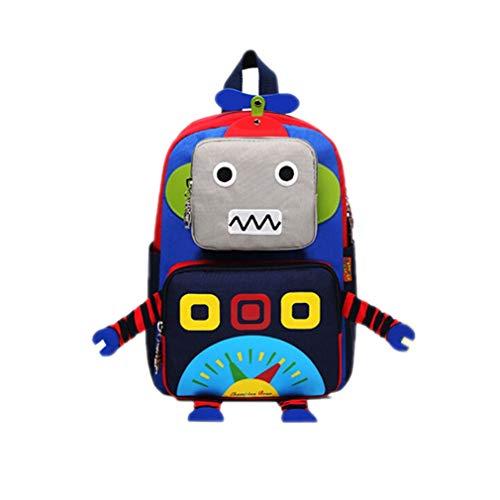 (マリア)MARIAH キッズリュック 迷子防止ハーネス付き 赤ちゃんリュック 通園・旅行・一升餅 ロボットリュック ブルー