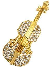 ノーブランド品 特別 水晶 女性の宝石 バイオリン 秋の衣類付属品 ブローチピン