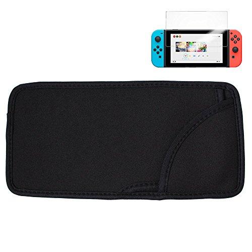 Nintendo Switch ソフトケース 収納ポーチ カバー ニンテンドー スイッチ 用 ソフトポーチ Barsado(ブラック+9H保護フィルム)