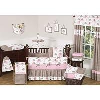Sweet Jojo Designs 9-Piece Modern Pink and Brown Mod Elephant Baby Girl Bedding Crib Set [並行輸入品]