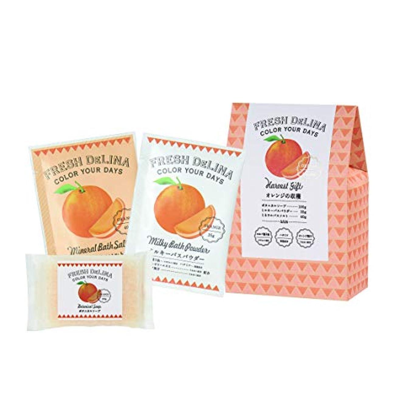 立ち向かう関税先にフレッシュデリーナ ハーベストギフト オレンジ (ミルキバスパウダー35g、ミネラルバスソルト40g、ボタニカルソープ100g 「各1個」)