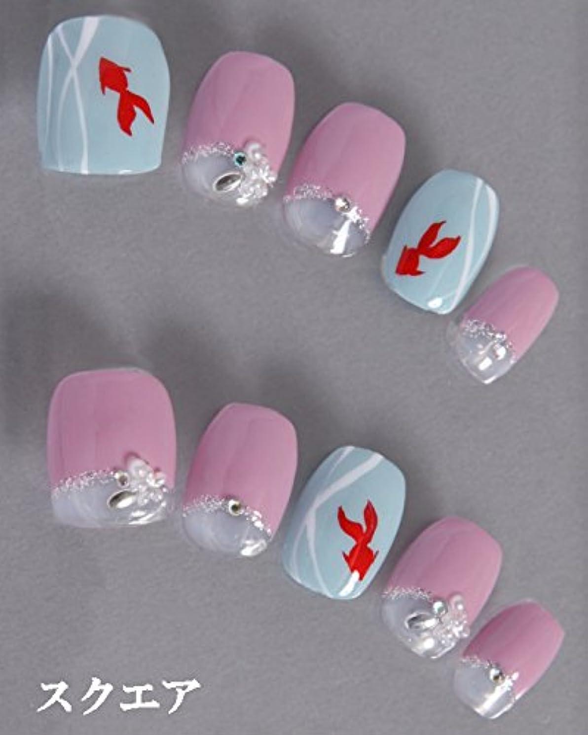 誇り弓落ち着かないゆずネイル|ネイルチップ 濃ピンク 薄ブルー フレンチ 動物 花 夏 浴衣(B01023-Q-C)