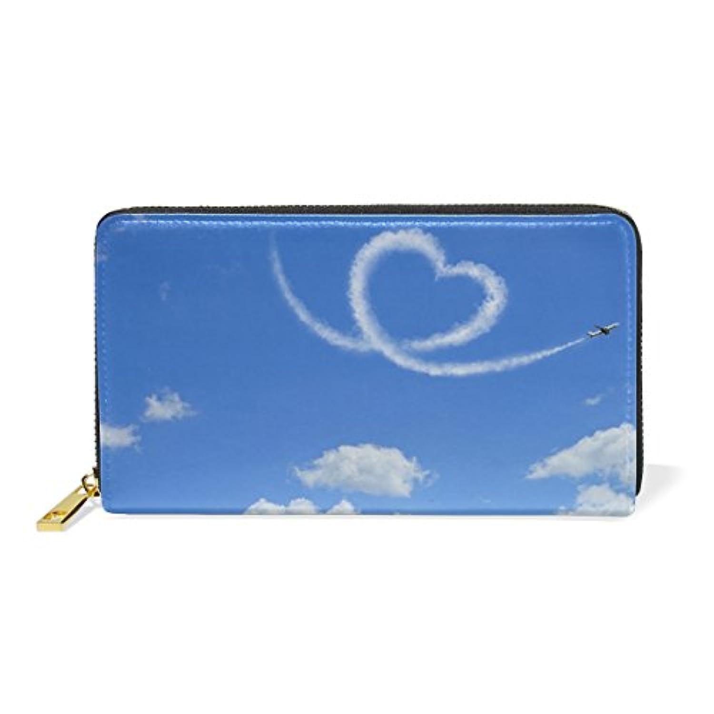 財布 レディース 長財布 大容量 かわいい スカイ 雲柄 心柄 おしゃれ きれい ファスナー財布 ウォレット 薄型 本革 型押し 小銭入れ プレゼント用
