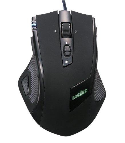 ペリックス MX-2000B, レーザーゲーミングマウス - 11 プログラミングボタン - マウス重量調節可能 - オムロンマイクロスイッチ - レーザーセンサーAvago 5040DPI - ブラック