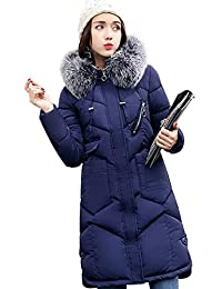 SHUNYI レディース 長袖 冬服 ロング丈 ダウンコート 厚手 トップス ジャケット アウター ファー付き 中綿 カジュアル ファッション ロング コート フード付き 防寒着