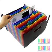 Kaitein ドキュメントスタンド 13ポケット書類 分類 仕分け ファイルケース カラフル 書類ケース 蓋付き 自立型 ラベル付き