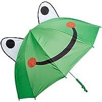 Kidorable Green Frog Umbrella with Fun Frog Leg Handle, Pop-Out Eyes, Big Smile