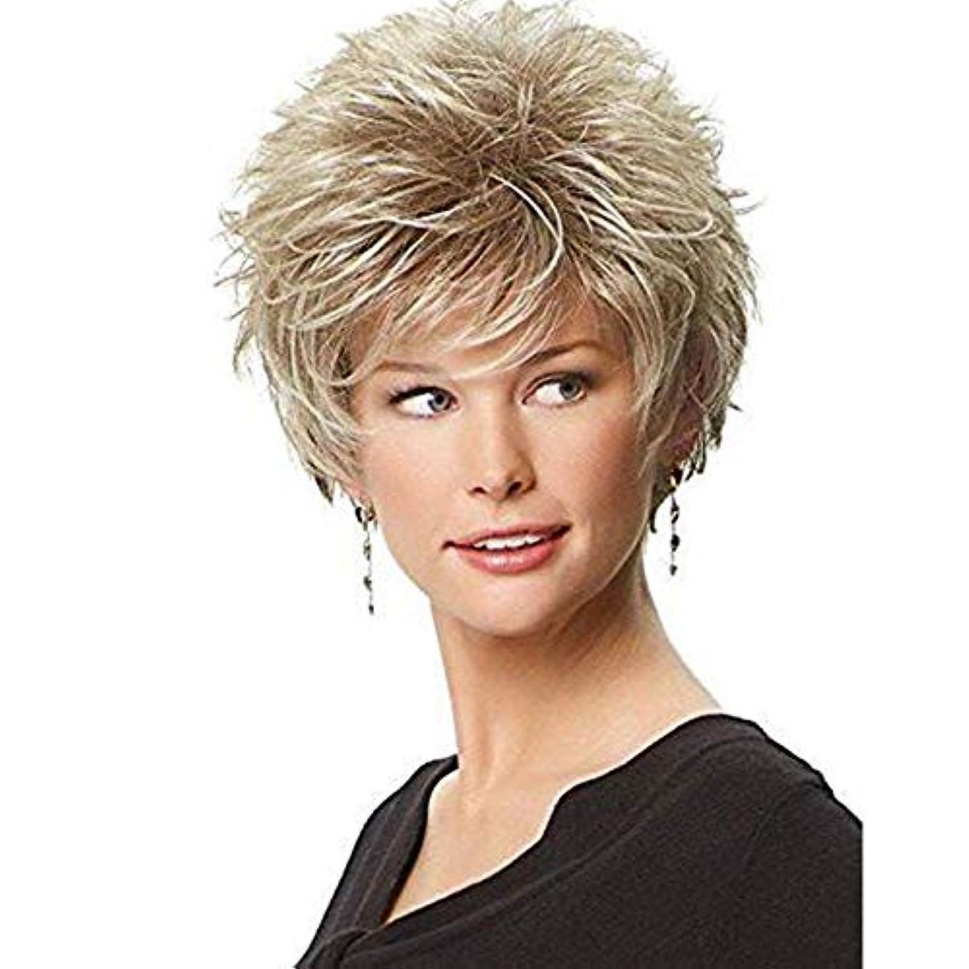 マニア先失礼YOUQIU 女性のかつらのための自由なキャップ付ブロンドのかつらファッションヘアスタイリングふわふわショートカーリーヘアウィッグ (色 : Blonde)