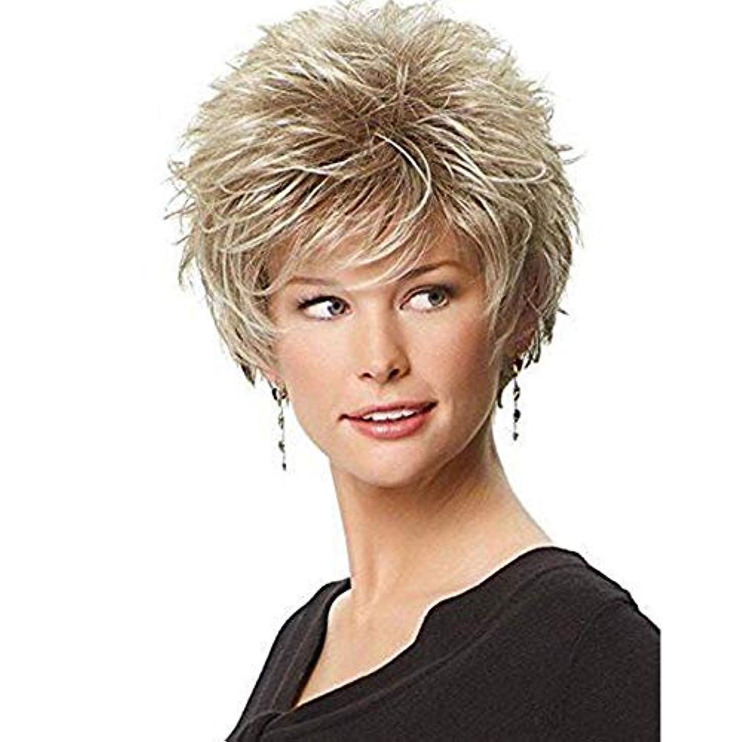 トラップダルセット最大YOUQIU 女性のかつらのための自由なキャップ付ブロンドのかつらファッションヘアスタイリングふわふわショートカーリーヘアウィッグ (色 : Blonde)