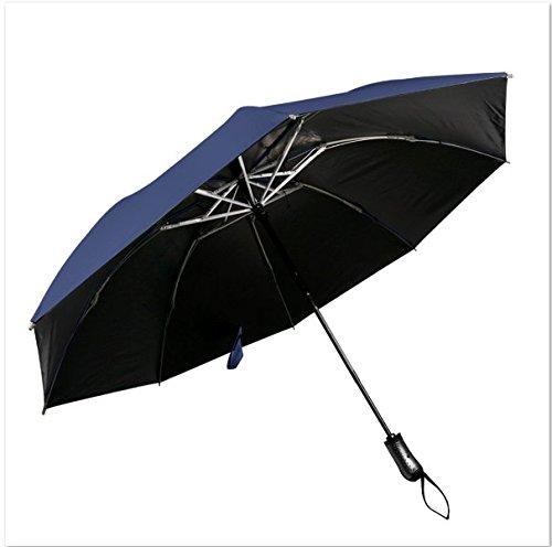 WYAO 逆さ傘 逆折り式傘 逆開き ワンタッチ式 傘 逆折り テフロン 撥水加工 8本骨 UVカット 晴雨兼用 (ブルー)