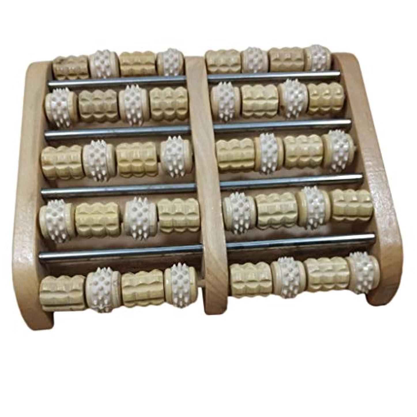 ブラウンテンポ家庭教師Baoblaze デュアルフットマッサージローラー 家庭用 サロン用 フットマッサージ 木製 高品質