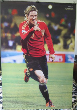 Fernando Torres # Bポインティングポスター23.5X 34Playing forスペインチームSoccer Football (から送信されでアメリカPVCパイプ)