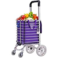 ZB ショッピングカートアルミ合金、家庭食料品ショッピングカート、スーパーマーケットポータブルトロリー、トロリーケース、4輪、48×30×94cm ABC