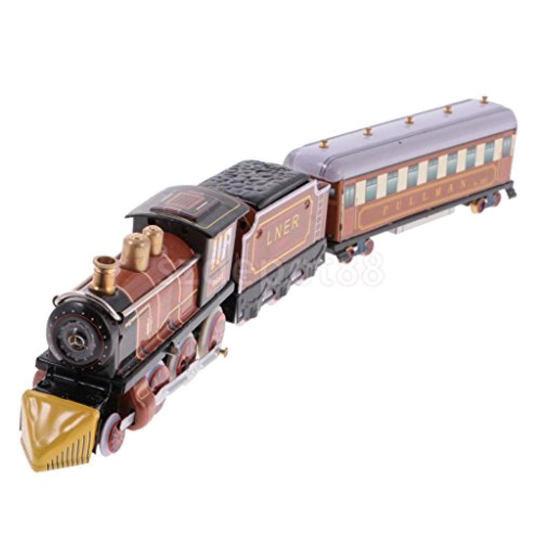 collectible Wind Up Train ClockworkメタルTin Toy Craftsホームインテリアブラウン