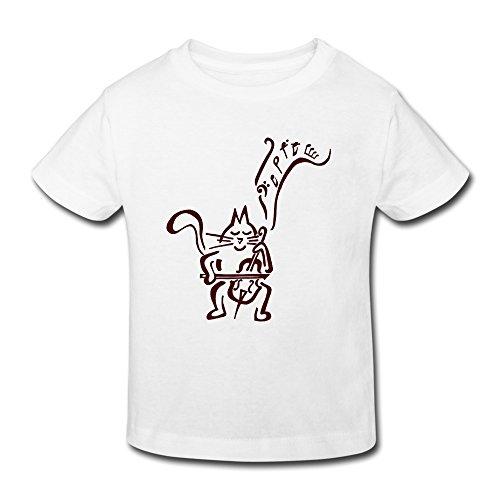 星 2~6歳子供 半袖 男の子 女の子 猫 楽器 バイオリ ンコンサート オリジナル ティー Tシャツ White 5-6 Toddler