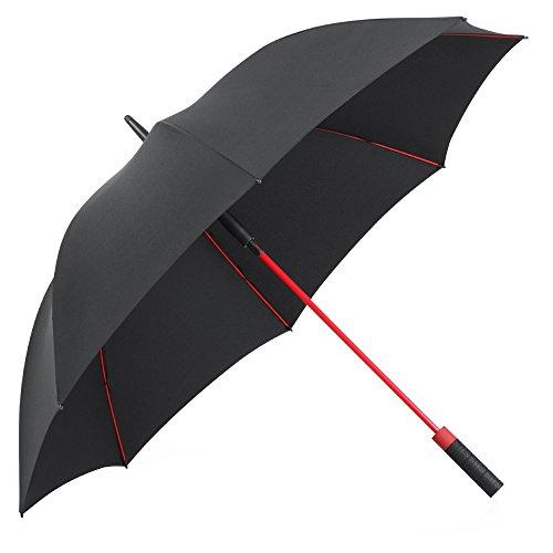 PLEMO 長傘 大きな傘 新強化グラスファイバー傘骨 自動開けステッキ傘 紳士傘 耐風傘 撥水加工 ブラック&レッド 120センチ