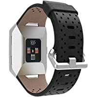 EloBeth for Fitbit Ionic Band, Leather Band Bracelet Replacement Wrist Watch Band for Fitbit Ionic Watch (Black 2)