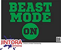 JINTORA ステッカー/カーステッカー - Beast mode on - ビーストモードオン - 114x99 mm - JDM/Die cut - 車/ウィンドウ/ラップトップ/ウィンドウ - 緑色