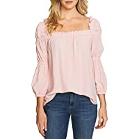 CeCe Women's Cotton Square-Neck Blouson Top