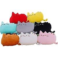 J.G.N フワフワ 柔らか かわいい ネコ クッション 抱き枕 オフィス用にも もふもふ ぬいぐるみ (50CM, ホワイト)