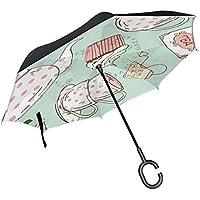 逆さ傘 逆折り式傘 車用 日傘 長傘 アフタヌーンティー のんびり プリント UVカット 手離れC型手元 撥水加工 晴雨兼用 耐風 124センチ