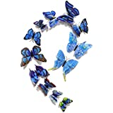 FiveRen 12 Pcs 1 Pack Beautiful Double Wing 3D Butterfly Wall Stickers, Vivid Fridge Magnet Home Decor Art Applique DIY Crafts Removable for Babys Bedroom TV Background Living Room, Blue