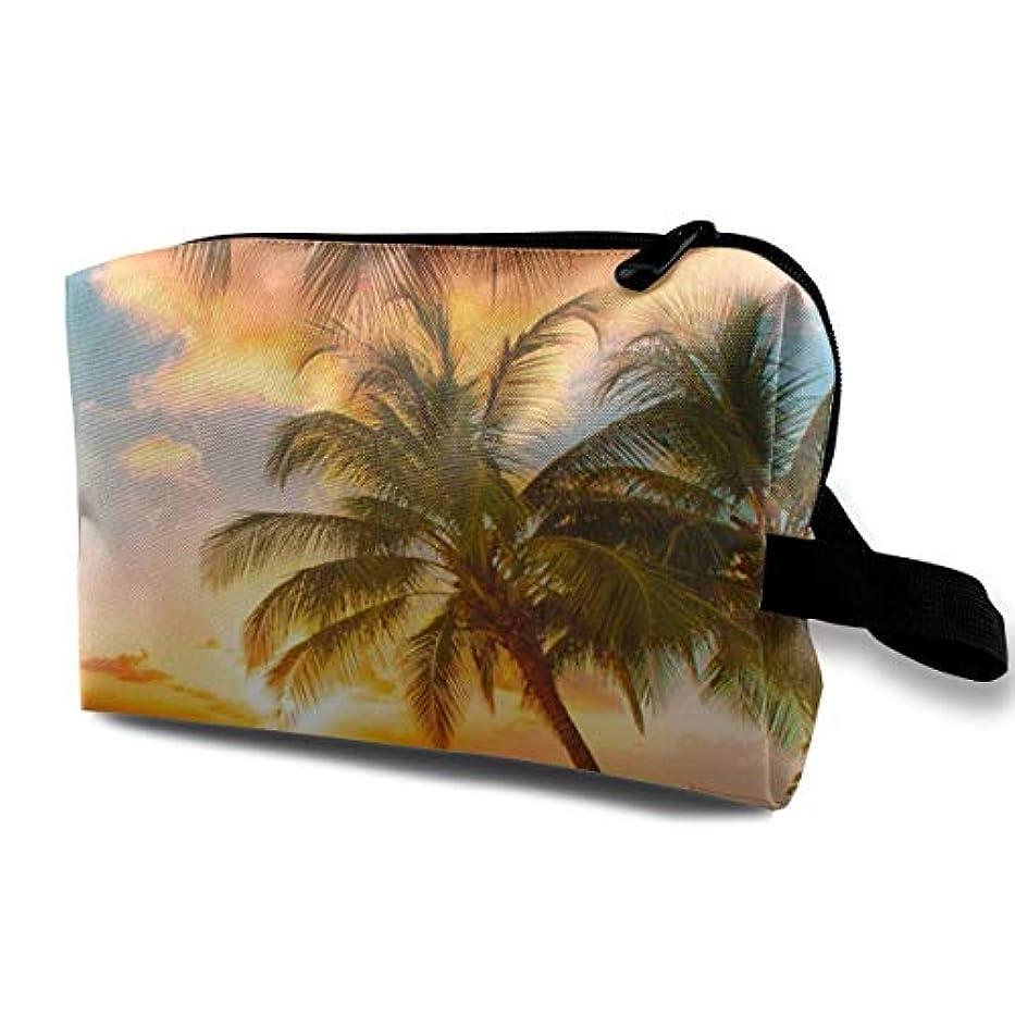 近所の頬骨緩むTropical Palm Tree Ocean Beach Hawaii Summer Sunset 収納ポーチ 化粧ポーチ 大容量 軽量 耐久性 ハンドル付持ち運び便利。入れ 自宅?出張?旅行?アウトドア撮影などに対応...