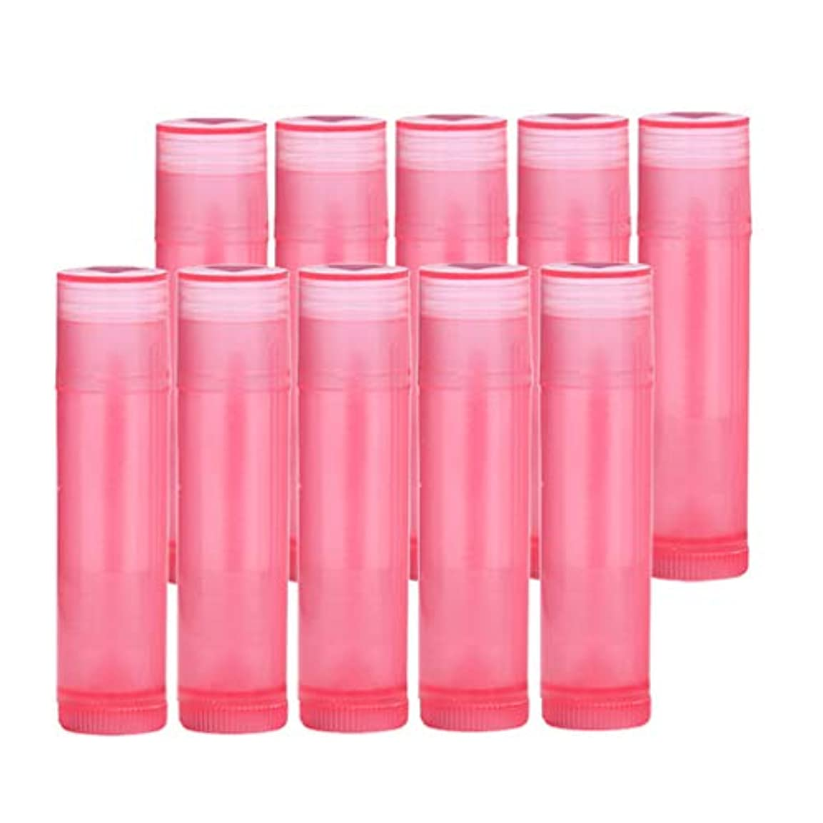 致命的冷笑する日焼けプラスチック 空 口紅容器 口紅の管 リップクリーム容器 10個 全7色 - ローズレッド
