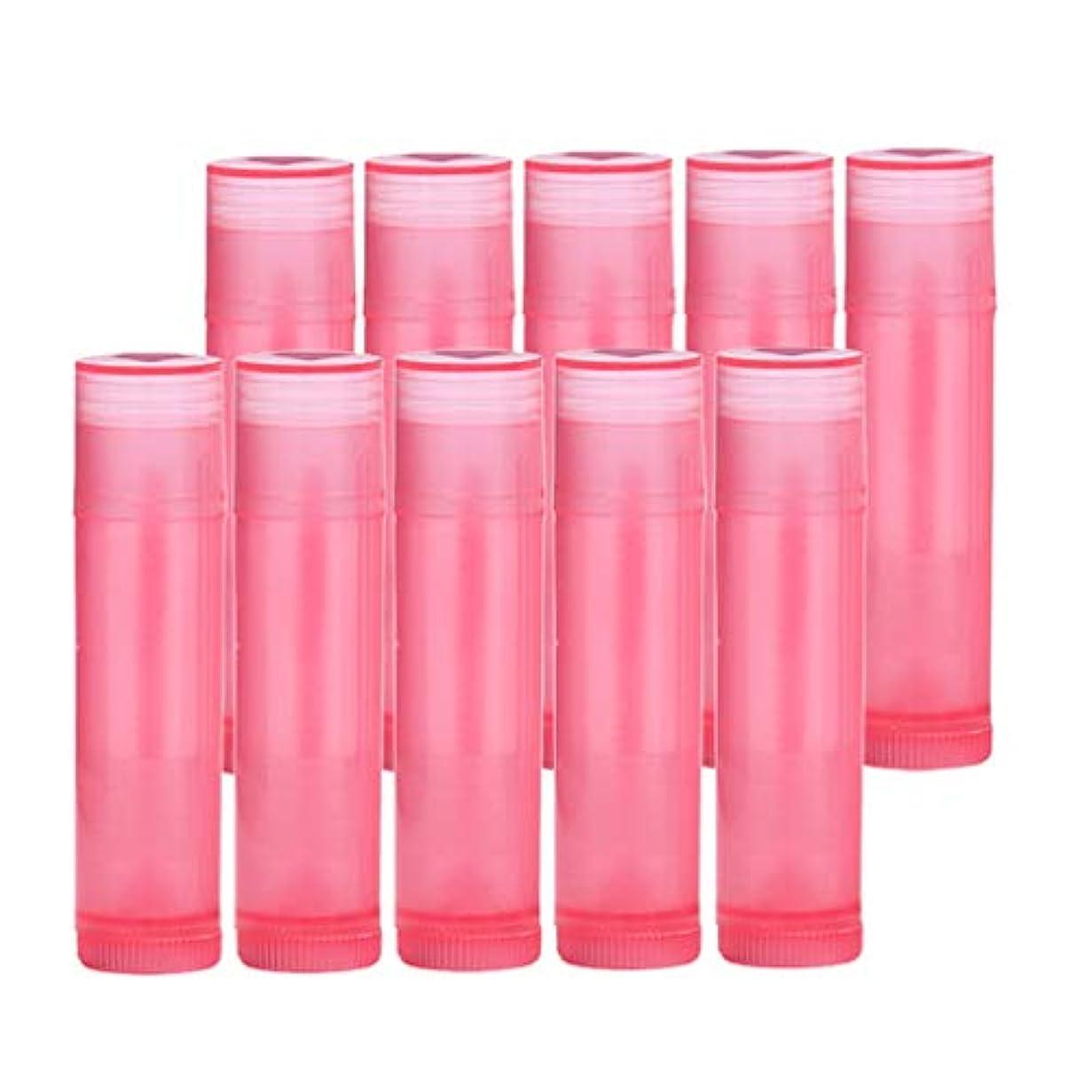 主観的クラッチ磨かれたプラスチック 空 口紅容器 口紅の管 リップクリーム容器 10個 全7色 - ローズレッド
