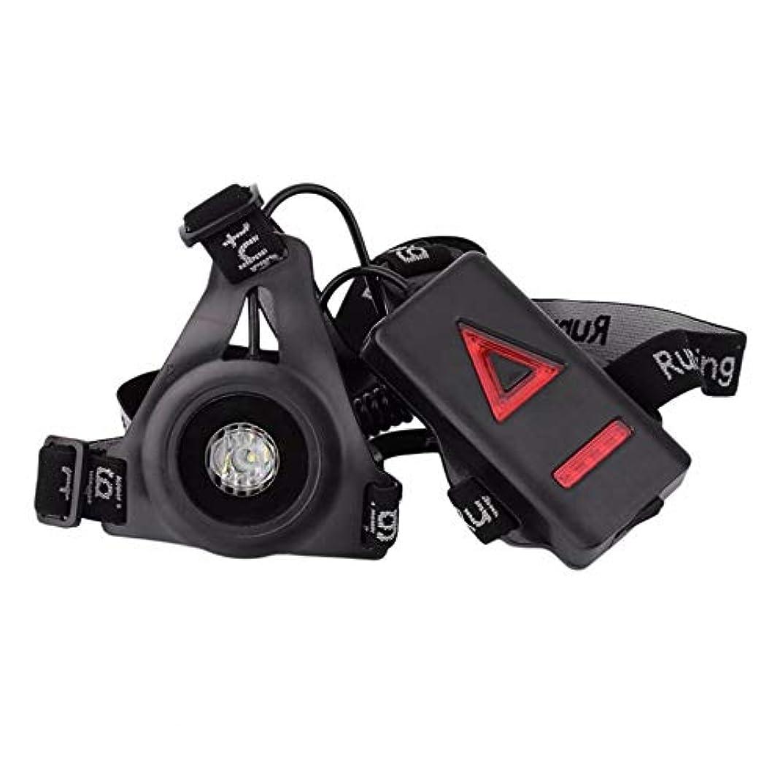 打倒医薬小さいAlioay ランニングライト 軽量ウエストベルトタイプ 胸先 ランニンググッツ USB充電式 3つモード 8つのLEDランプ 20m先まで照明 軽量 高輝度 スポーツ ランニング ジョギング 散歩 ウォーキング トレイルランニング 事故防止