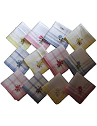 Milanoフローラル刺繍綿100 %レディースHankies ( 12個)
