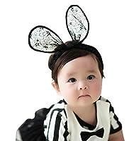 [kiejun] ベビーヘアバンド 髪飾り 寝相アート ヘアアクセサリー カチューシャ 赤ちゃん 子供 記念撮影 ウサミミ レース ki-058 (1 クロ)