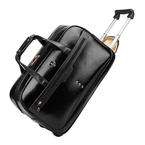 Femoooboro 防水 ハイグレードPUレザー素材 ブラック 旅行カバン 車輪付きバッグ