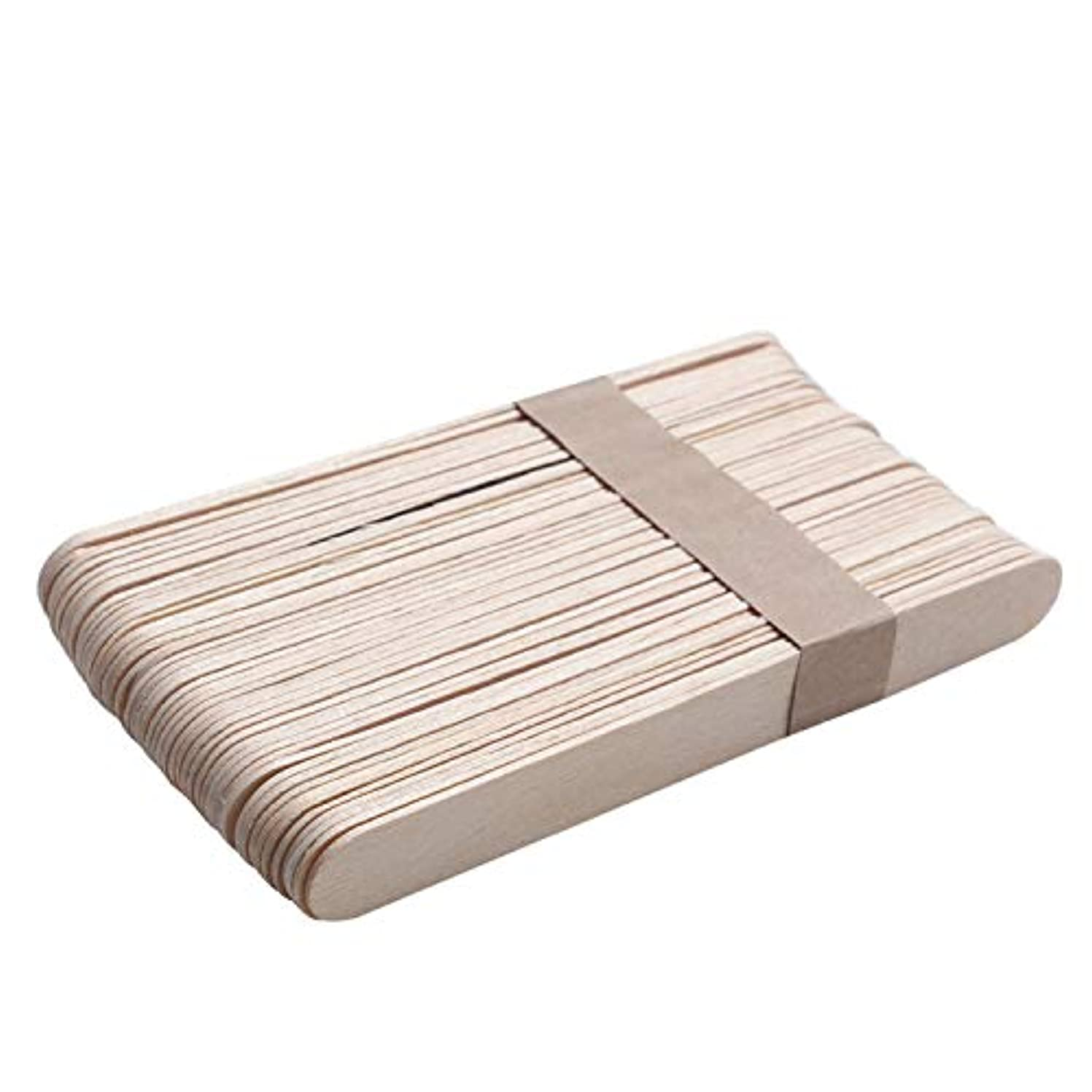 ほこりっぽい工場読みやすさMigavann 50ピース15センチ木製ワックススティック 使い捨て木製ワックスヘラワックスアプリケータdiyフェイシャルマスクスティック