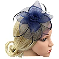 Xfounder Bridal Cocktail Feather Mesh Fascinator Vintage Flower Hair Clip Hat Party Wedding