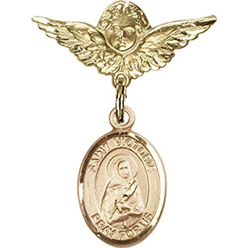 ゴールドFilled Babyバッジwith聖Victoria Charm and Angel W / Wingsバッジピン1 x 3 / 4インチ