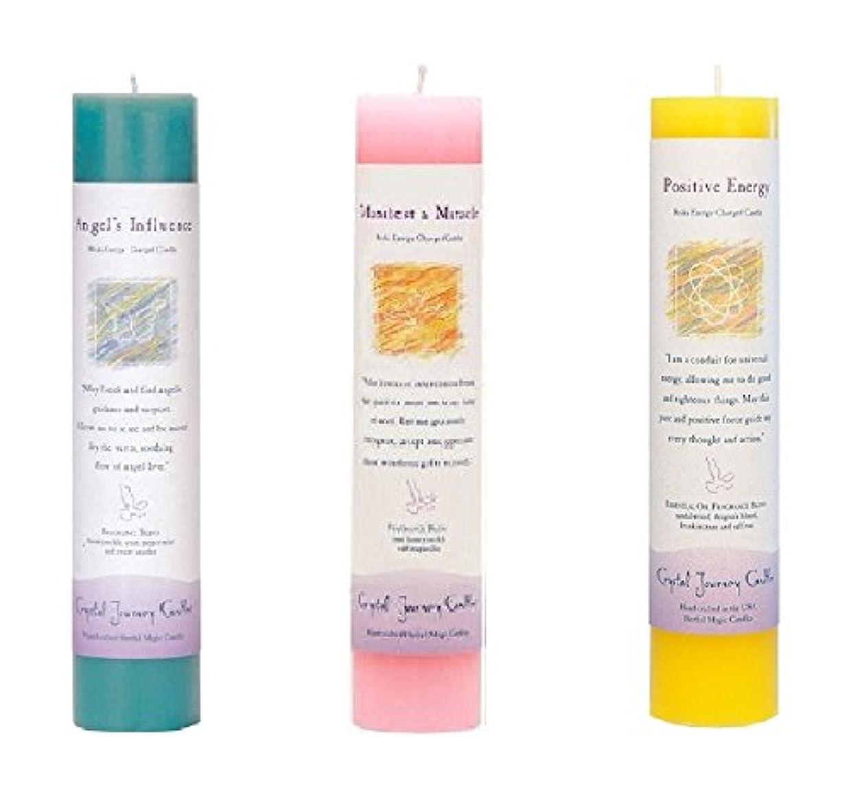 引き算スーパーシングル(Angel's Influence, Manifest a Miracle, Positive Energy) - Crystal Journey Reiki Charged Herbal Magic Pillar Candle...
