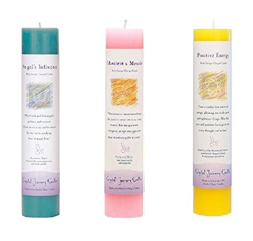 彼女の試験取り付け(Angel's Influence, Manifest a Miracle, Positive Energy) - Crystal Journey Reiki Charged Herbal Magic Pillar Candle...