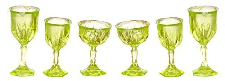 Melody Jane Dollhouse Green Cut Stemware Glasses Set Chrysnbon Miniature 1:12