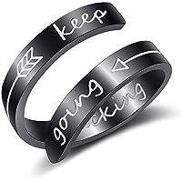 VALVABLE Adjustable Ring Finger Keep Going Personalized Engraving Thumb Middle Little Finger Ring Stainless Steel Inspirational Birthday Girls Boys Women Mens Silver Black