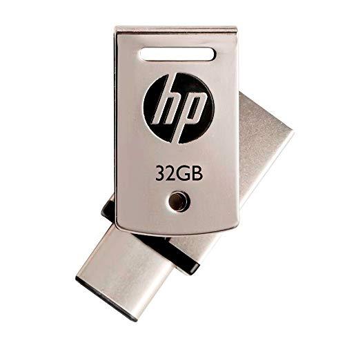 HP 32GB USB3.1対応 Type-C + A デュアルUSBメモリ 金属製の360度回転デザイン2in1 OTG フラッシュドライブ x5000m HPFD5000M-32