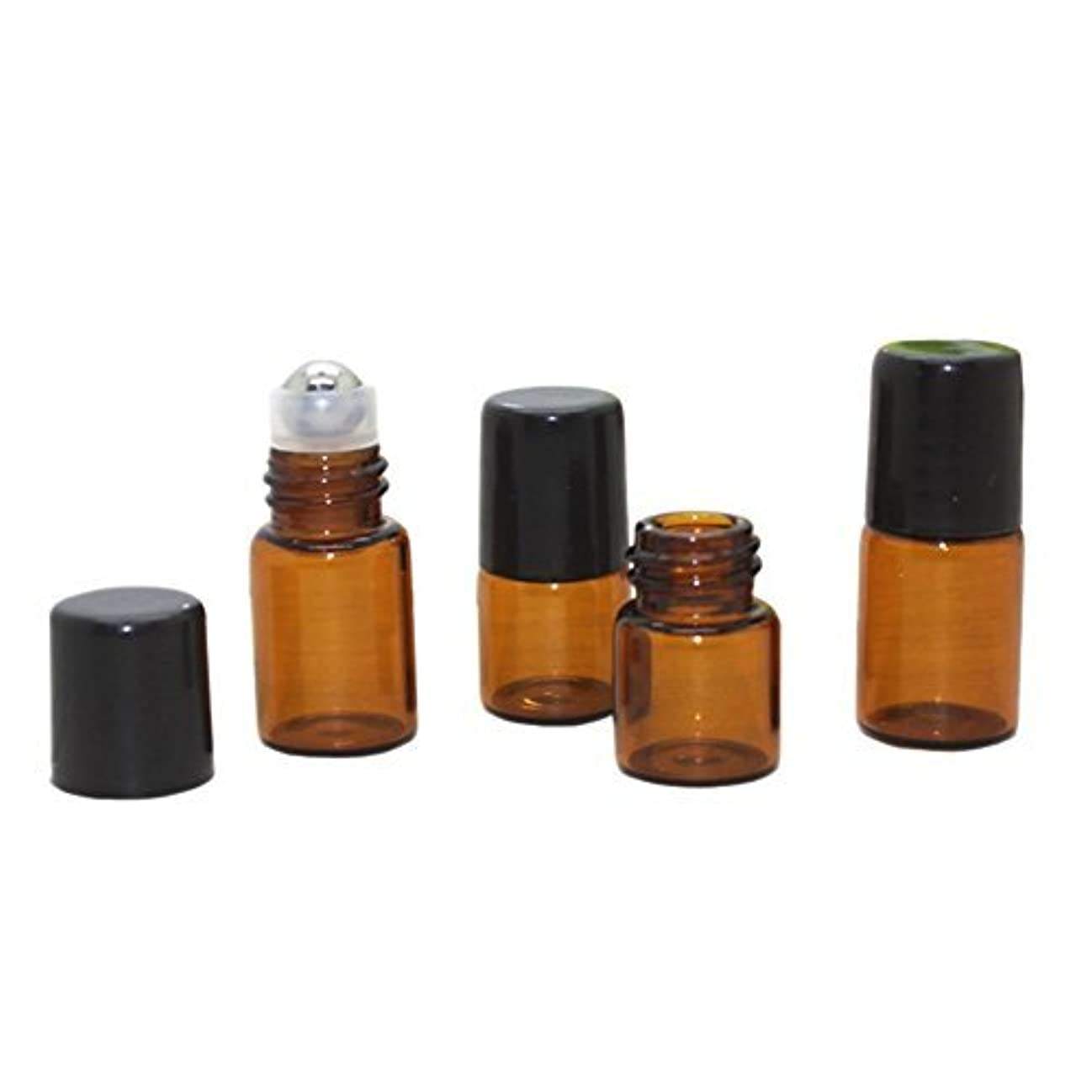 HugeStore 25 Pcs Mini Tiny Refillable Empty Essential Oil Glass Roller Bottles Aromatherapy Liquid Amber Glass...