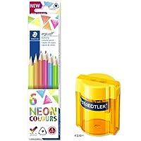 ステッドラー エルゴソフト色鉛筆ネオンカラー6色セット+タブシャープナー(イエロー) 157 C6P1+513 001-Y 2個組み