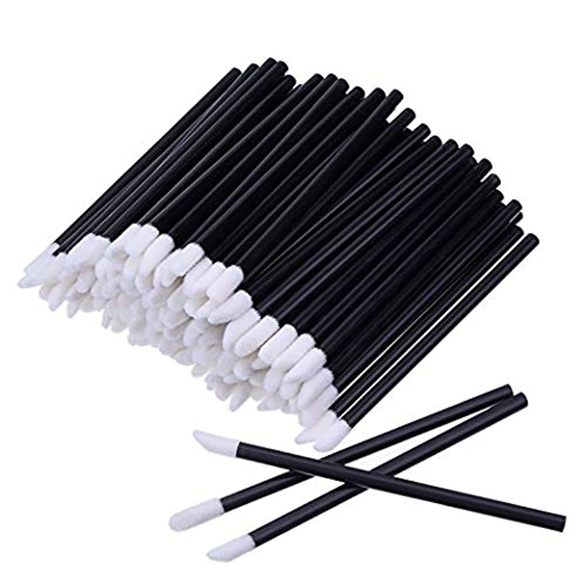 種をまく滑る酸度KEDSUM リップブラシ 使い捨て 300本入り メイクブラシ 化粧用品 化粧筆 化粧ブラシ 携帯用 便利 (ブラック)